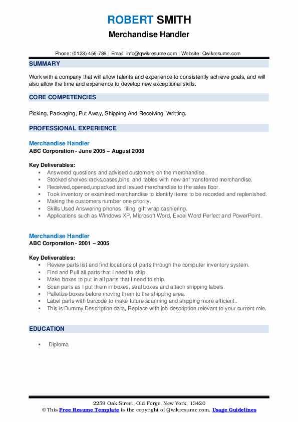 Merchandise Handler Resume example