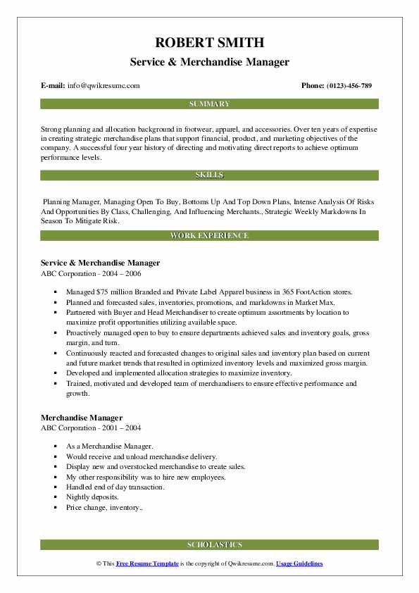 Divisional merchandise manager resume