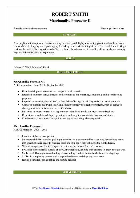 Merchandise Processor II Resume Model