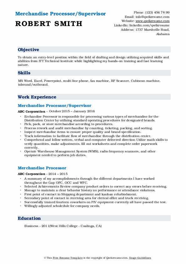 Merchandise Processor/Supervisor Resume Example