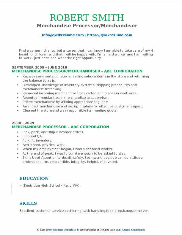 Merchandise Processor/Merchandiser Resume Example