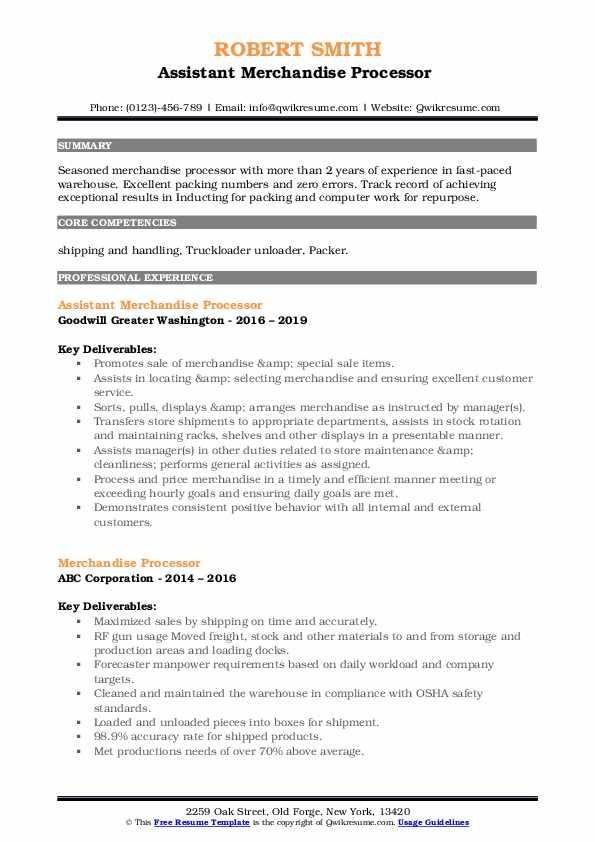 Assistant Merchandise Processor  Resume Sample