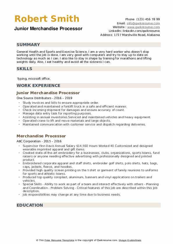 Junior Merchandise Processor Resume Sample