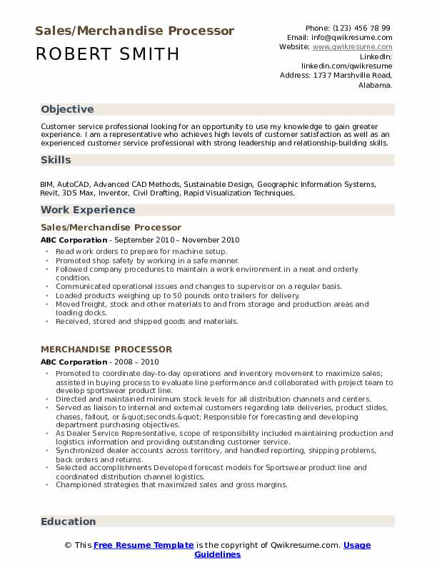 Sales/Merchandise Processor Resume Format