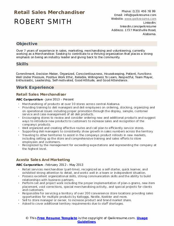 Merchandiser Resume Samples Qwikresume