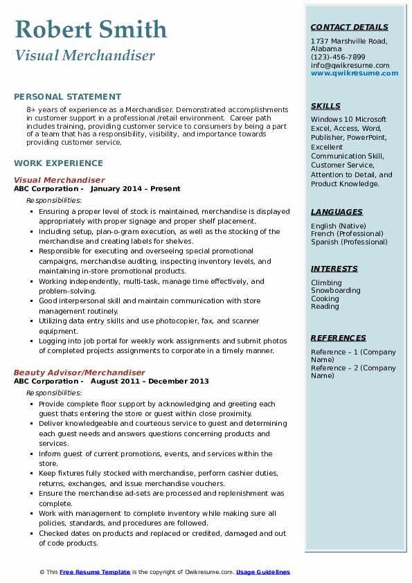 Visual Merchandiser Resume Template