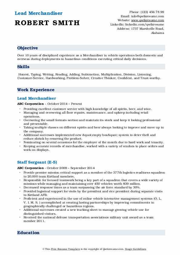 Lead Merchandiser Resume Example