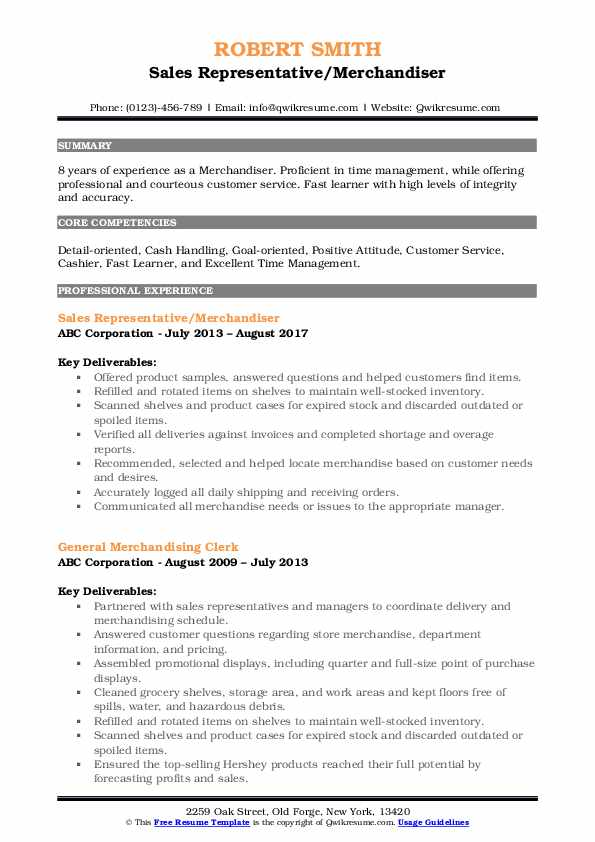 Sales Representative/Merchandiser Resume Format