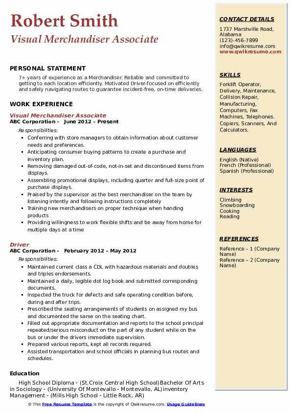 Visual Merchandiser Associate Resume Sample