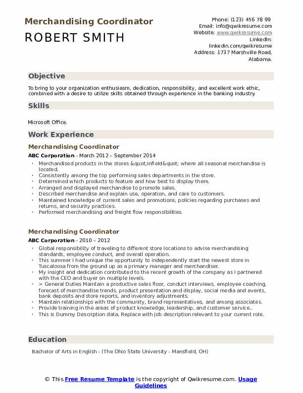Merchandising Coordinator Resume example