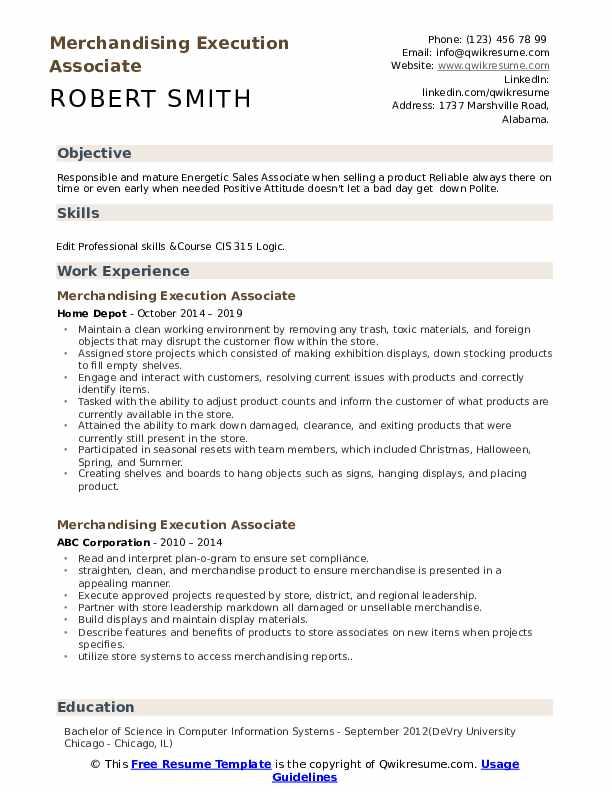 Merchandising Execution Associate Resume Template