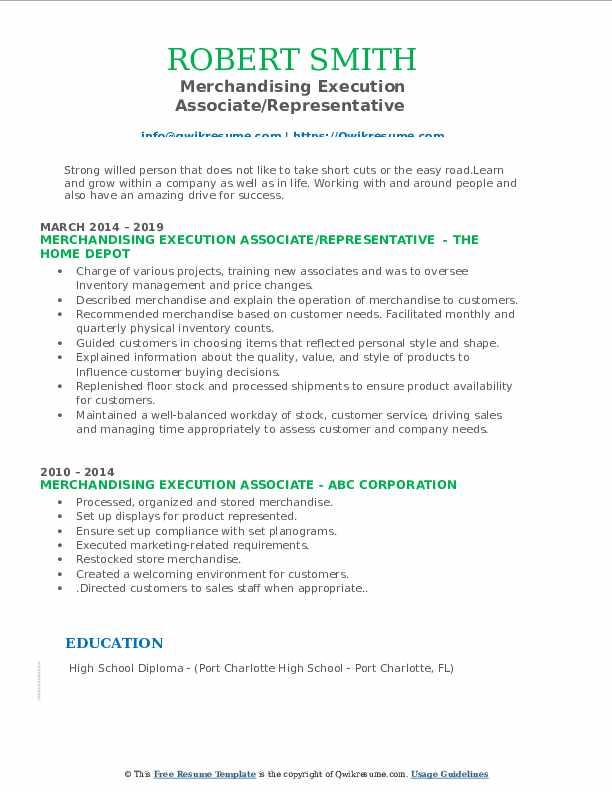 Merchandising Execution Associate/Representative  Resume Template