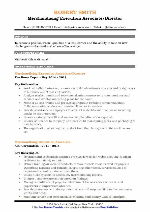Merchandising Execution Associate/Director Resume Model