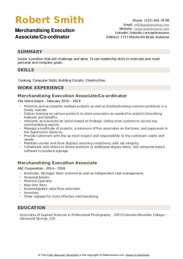 Merchandising Execution Associate/Co-ordinator Resume Model