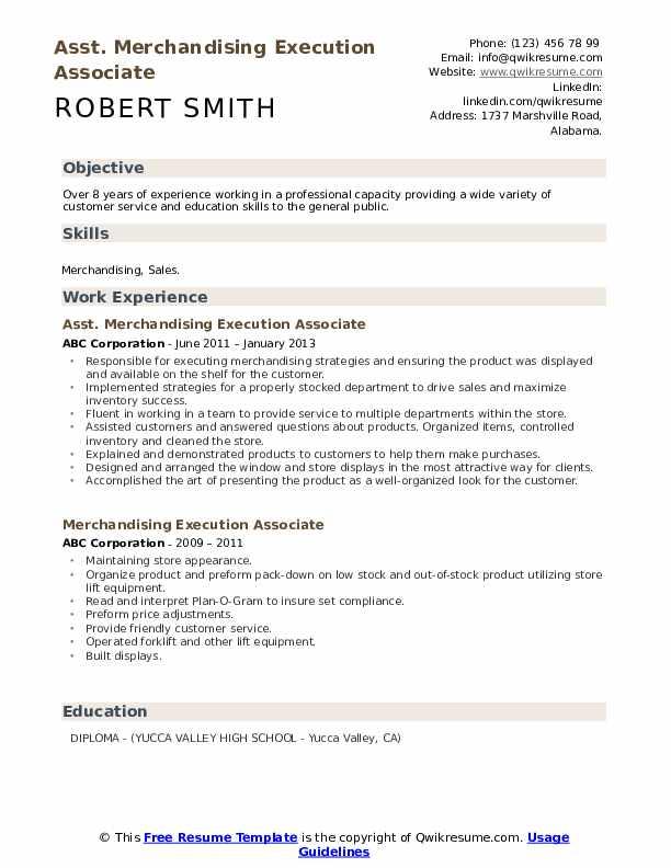 Asst. Merchandising Execution Associate Resume Sample