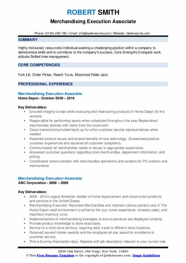 Merchandising Execution Associate Resume example