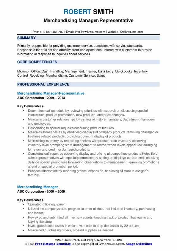 Merchandising Manager/Representative Resume Model