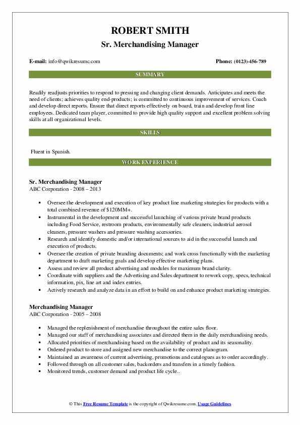 Sr. Merchandising Manager Resume Template