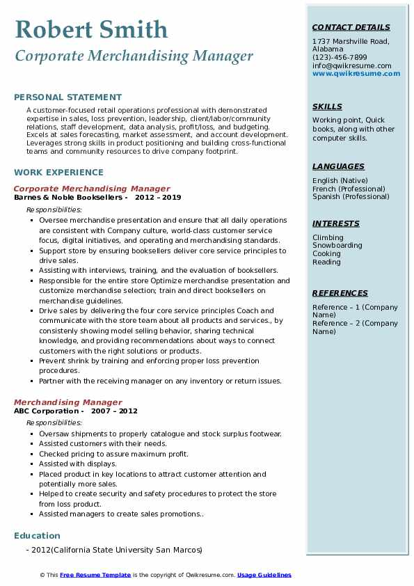 Corporate Merchandising Manager Resume Format