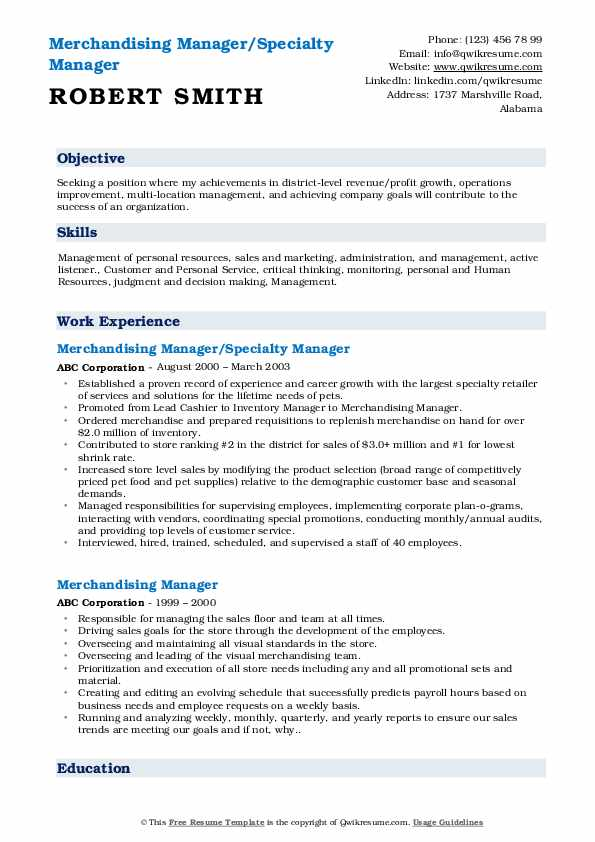 Merchandising Manager/Specialty Manager Resume Format