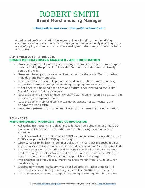 Brand Merchandising Manager Resume Format
