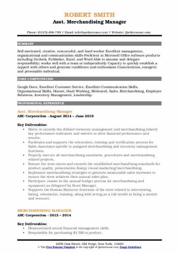 Asst. Merchandising Manager Resume Sample