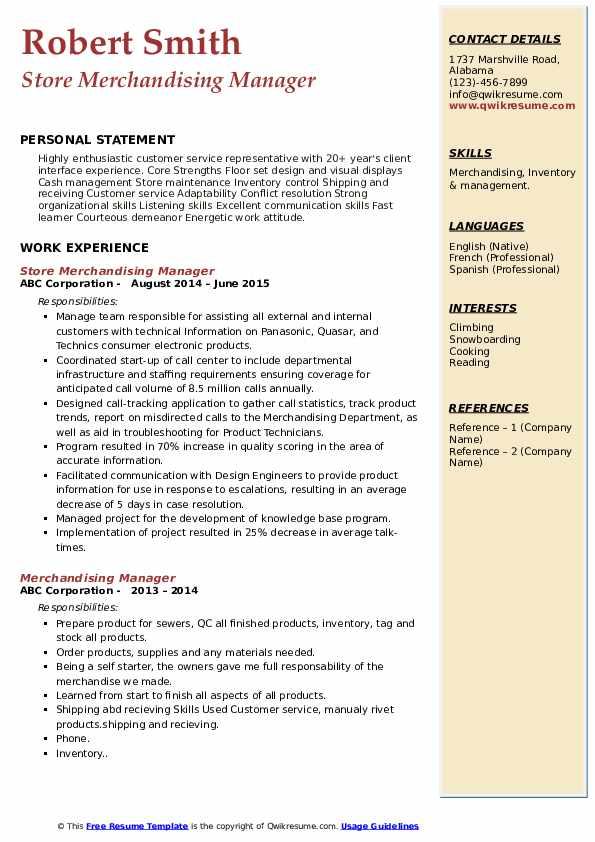 Store Merchandising Manager Resume Sample
