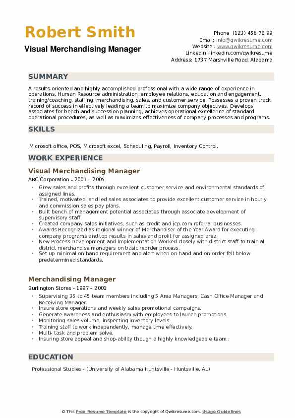 merchandising manager resume samples