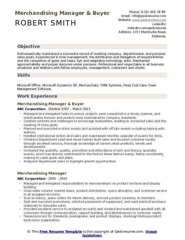 Merchandising Manager & Buyer Resume Model