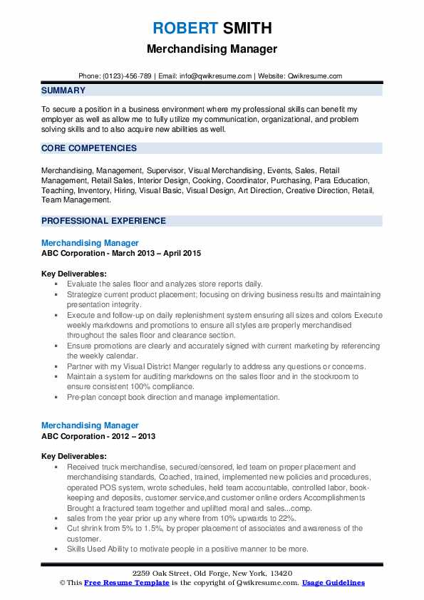 Merchandising Manager Resume example