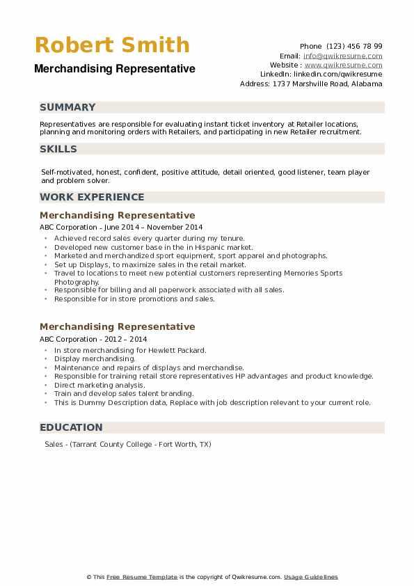 Merchandising Representative Resume example