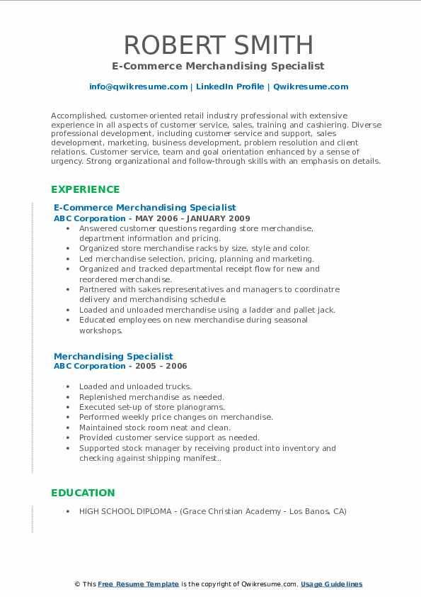 Merchandising Specialist Resume Samples | QwikResume