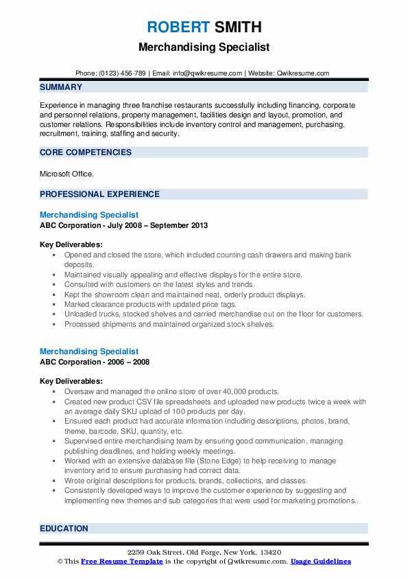 Merchandising Specialist Resume example