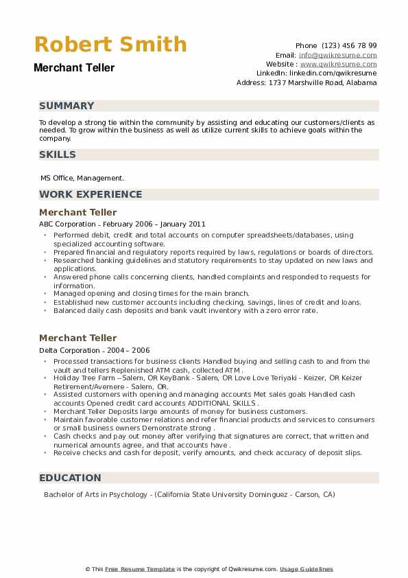 Merchant Teller Resume example