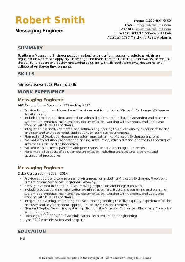 Messaging Engineer Resume example