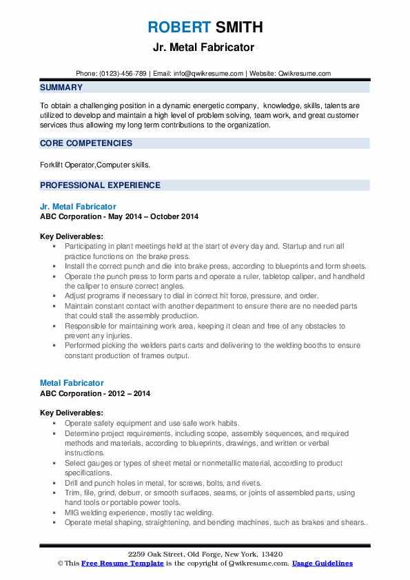 Jr. Metal Fabricator  Resume Sample