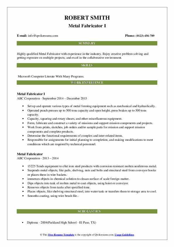 Metal Fabricator I Resume Format