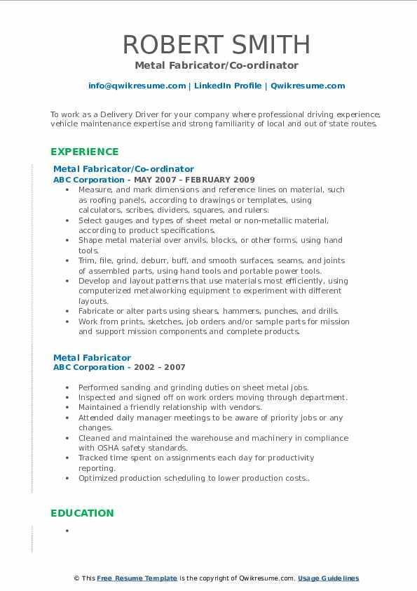 Metal Fabricator/Co-ordinator Resume Format