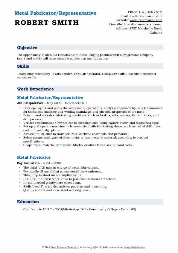 Metal Fabricator/Representative Resume Sample