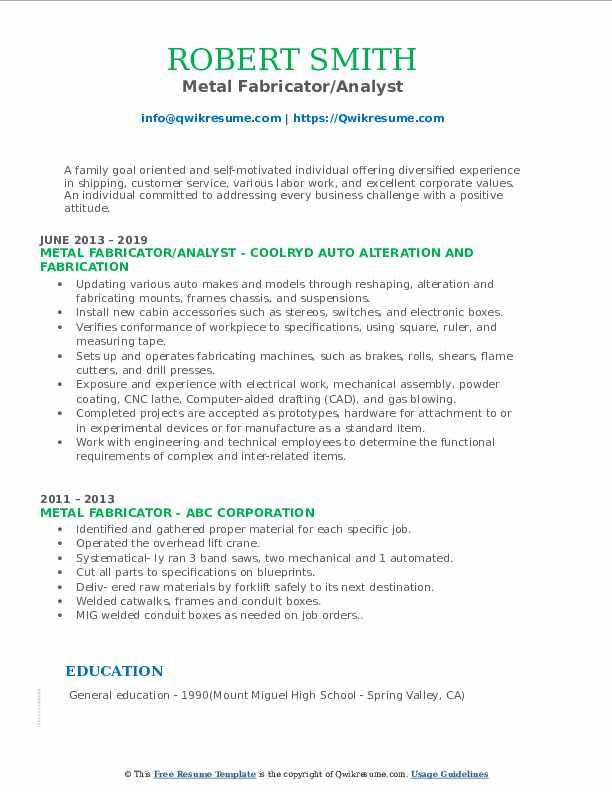 Metal Fabricator/Analyst Resume Format