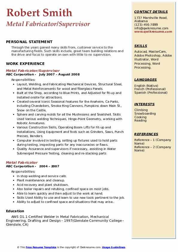 Metal Fabricator/Supervisor Resume Format