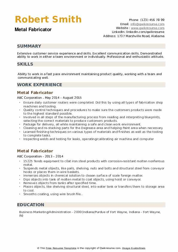Metal Fabricator Resume Sample