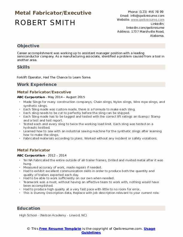 Metal Fabricator/Executive Resume Example