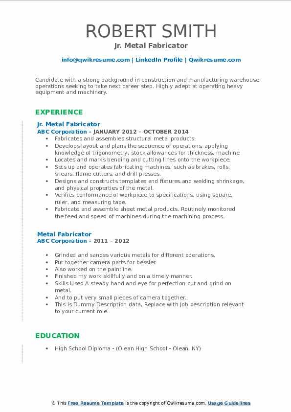 Jr. Metal Fabricator Resume Model