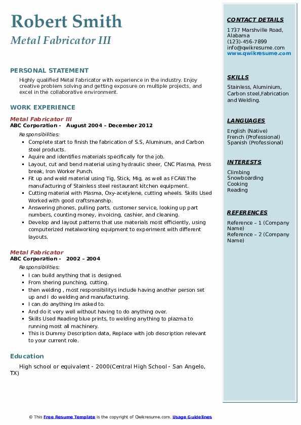 Metal Fabricator III Resume Model