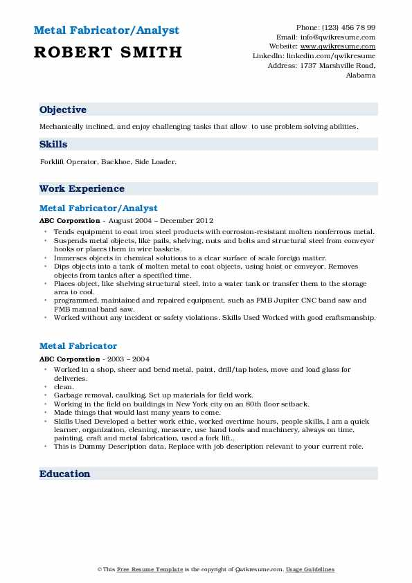 Metal Fabricator/Analyst Resume Example