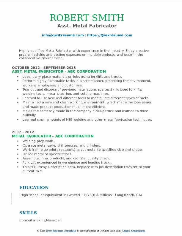 Asst. Metal Fabricator Resume Sample