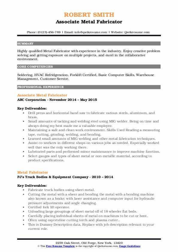 Associate Metal Fabricator Resume Model