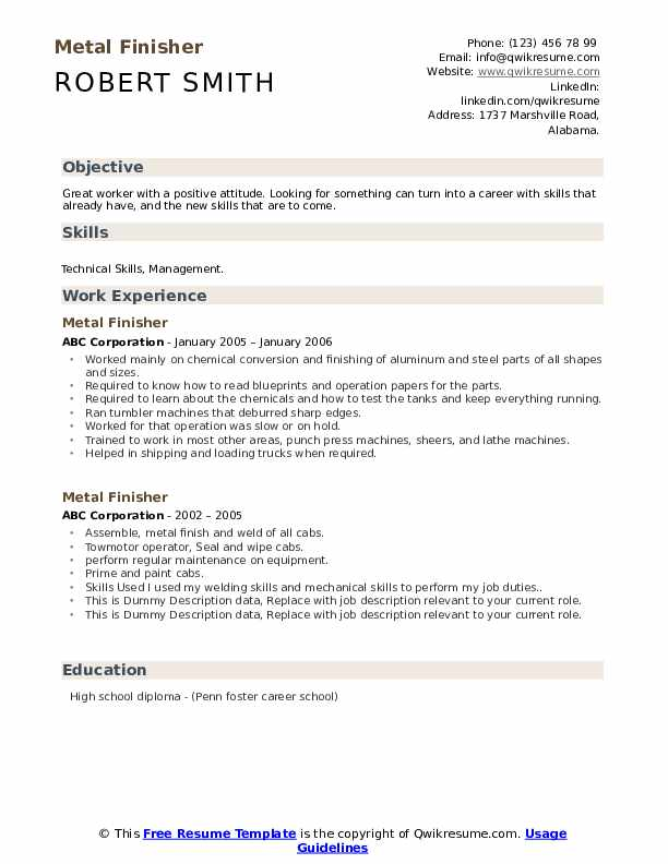 Metal Finisher Resume example