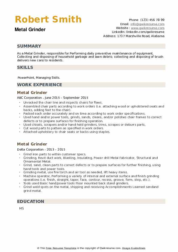 Metal Grinder Resume example